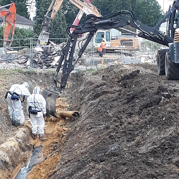 Dépose de canalisation EU en amiante ciment